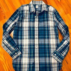 Gap boys button down blazer, blue plaid, size 10
